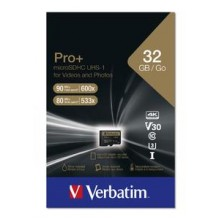 MicroSDXC 32GB PRO+ U3 WITH ADAPTER VERBATIM C10/U1