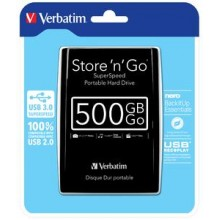HDD USB 3.0 500GB 2,5 BLACK PORTABLE DRIVE VERBATIM 53029