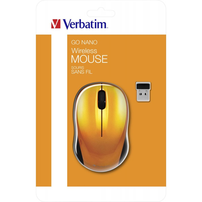 MOUSE GO NANO WIRELESS ORANGE VERBATIM.