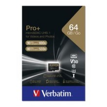MicroSDXC 64GB PRO+ U3 WITH ADAPTER VERBATIM C10/U1