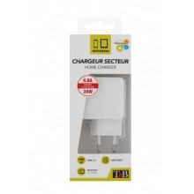 TNB 2.4A MAINS 2 USB CHARGER 12W WHITE