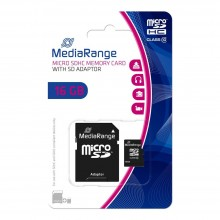 MicroSDHC 16GB CLASS 10 WITH ADAPTOR MEDIARANGE